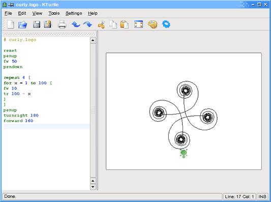 شکل ۱ - Kturtle بعد از اجرای یک قطعه کد ساده